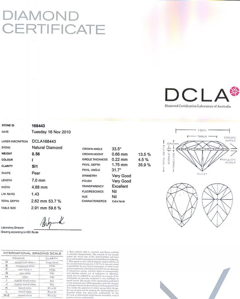 Pear Shape Diamond 0.56ct I SI1