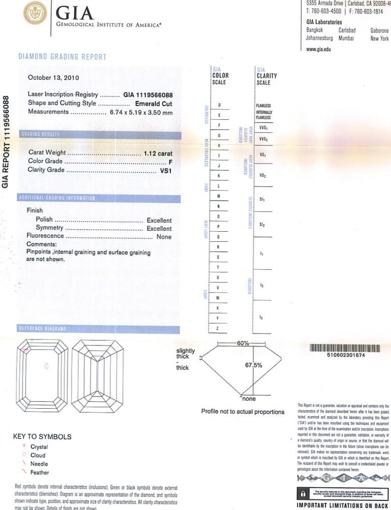 Emerald Cut Diamond 1.12ct F VS1
