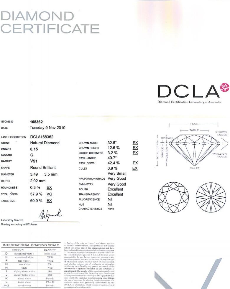 Round Brilliant Cut Diamond 0.15ct G VS1