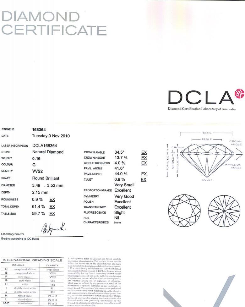Round Brilliant Cut Diamond 0.16ct G VVS2