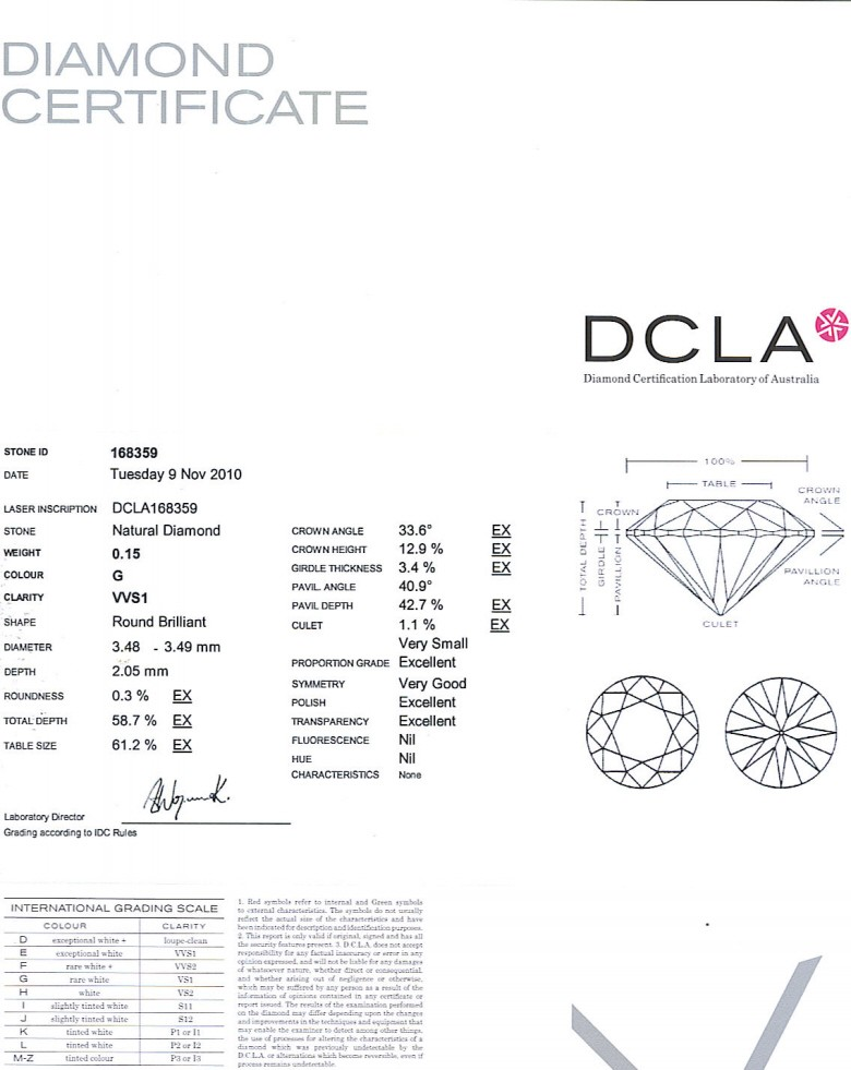 Round Brilliant Cut Diamond 0.15ct G VVS1