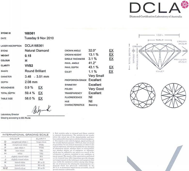 Round Brilliant Cut Diamond 0.15ct H VVS2