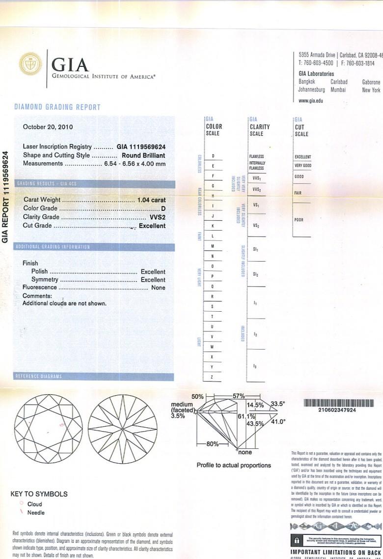 Round Brilliant Cut Diamond 1.04ct D VVS2