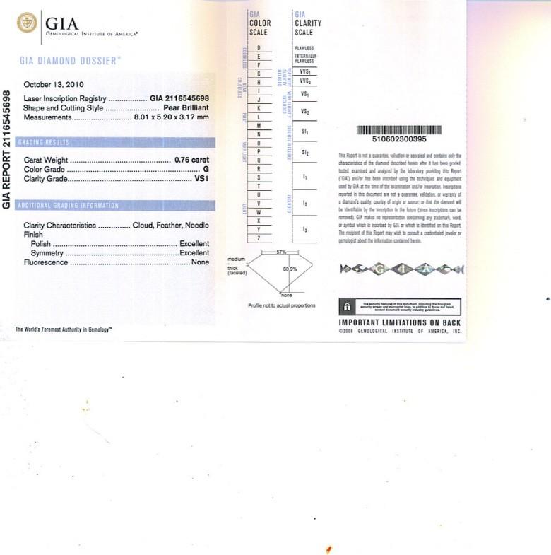 pear Shape Diamond 0.76ct G VS1