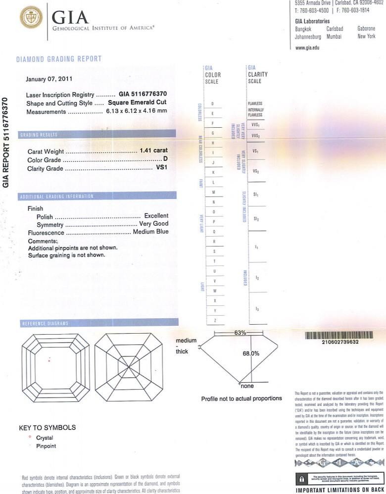 Asscher Cut Diamond 1.41ct D VS1