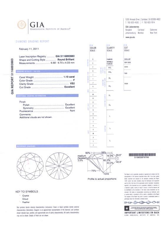 Round Brilliant Cut Diamond 1.10ct F VS2