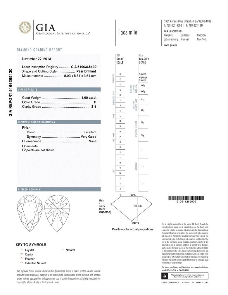Pear Shape Diamond 1.00ct D SI1