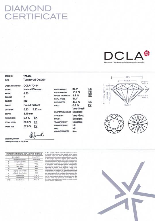 RBC 927 Round Brilliant Cut Diamond 0.53ct F SI2