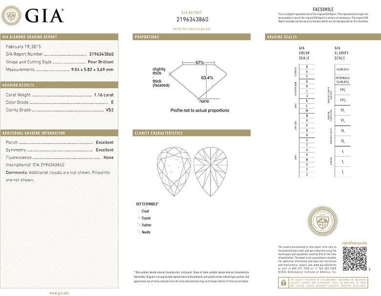 Pear Shape Diamond 1.16ct E VS2