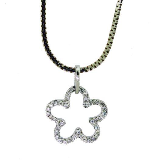 Flower Pendant Set with Round Brilliant Cut Diamonds