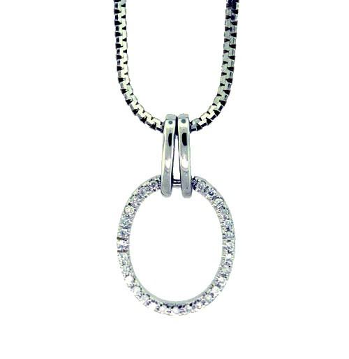 Oval Shape Pendant Set with Round Brilliant Cut Diamonds