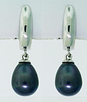 Tahitian Pearl & Hoop Earrings