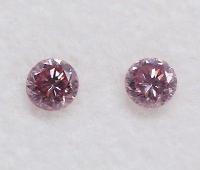 Argyle Round Brilliant Cut Diamond Pair Fancy Pink 0.10ctw