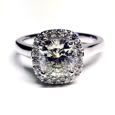 'Halo' Engagement Ring - Cushion Diamond