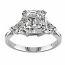 Asscher 3 Stone Diamond Ring