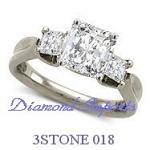 Princess 3 Stone Diamond Ring