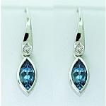 Marquise Cut Aquamarine & Diamond Drops