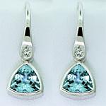 Trilliant Cut  Aquamarine & Diamond Drops
