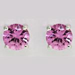 Pink Sapphire Round Studs