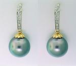 Tahitian Pearl & Diamond Encrusted Earrings