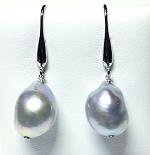 'Ikecho Pearls' Sterling Silver Grey Freshwater Pearl Drop Earrings