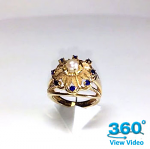 Gold Sapphire & Pearl Dress Ring