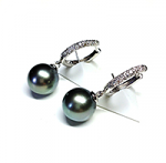Tahitian Pearl & Diamond Earrings
