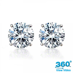 4 Claw Round Diamond Stud Earrings Total 0.58 cts I SI – Certified