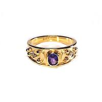 Amethyst & Round Diamond Ring