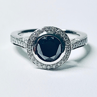 Black Diamond Engagement Ring - 1.32cts