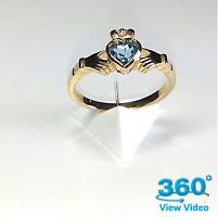 Blue Topaz Claddagh Ring