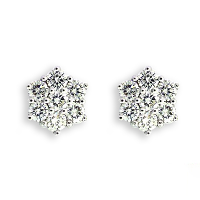 Diamond Cluster Earrings - 0.88 carats total H SI