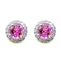 Pink Tourmaline & Diamond Halo Earrings