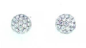 Diamond Dome Earrings - 1.02 carats total
