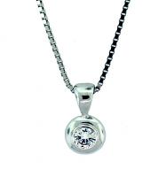 Domed Round Diamond Pendant 0.15ct - J SI1
