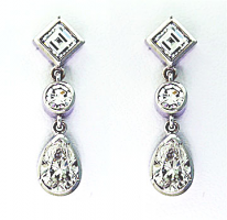 Pear Shape & Square Diamond Drop Earrings