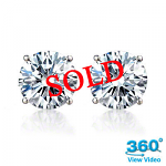 4 Claw Round Diamond Stud Earrings Total 0.69ct F/G VS - Certified