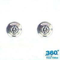 Bezel Set Round Diamond Ear Studs - 0.35 carats total F VS2