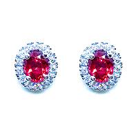 Spinel & Diamond Halo Earrings
