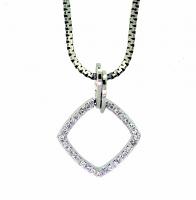 Diamond Shape Pendant Set with Round Brilliant Cut Diamonds
