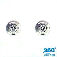 Bezel Set Round Diamond Ear Studs - 0.14 carats total G VS
