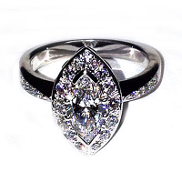 'Halo' Engagement Ring - Marquise Diamond