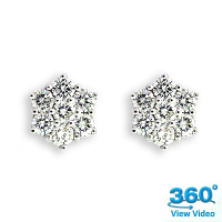 Diamond Cluster Earrings - 1.44 carats total