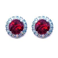 Ruby & Diamond Halo Earrings