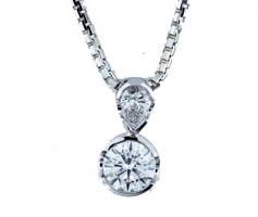 Pear Shape and Round Brilliant Cut Diamond Pendant