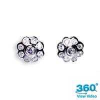 Flower Diamond Earrings - 0.80 carats total