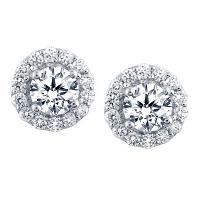 Halo Diamond Stud Earrings 0.51 carats total G /H SI