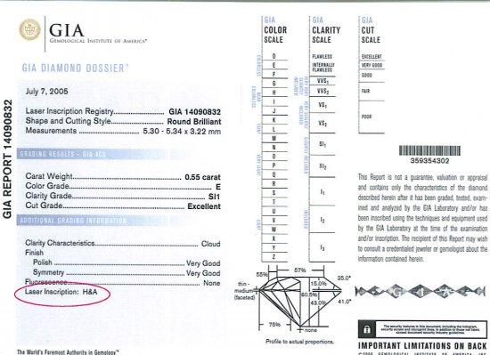 GIA H&A Inscribed Diamond